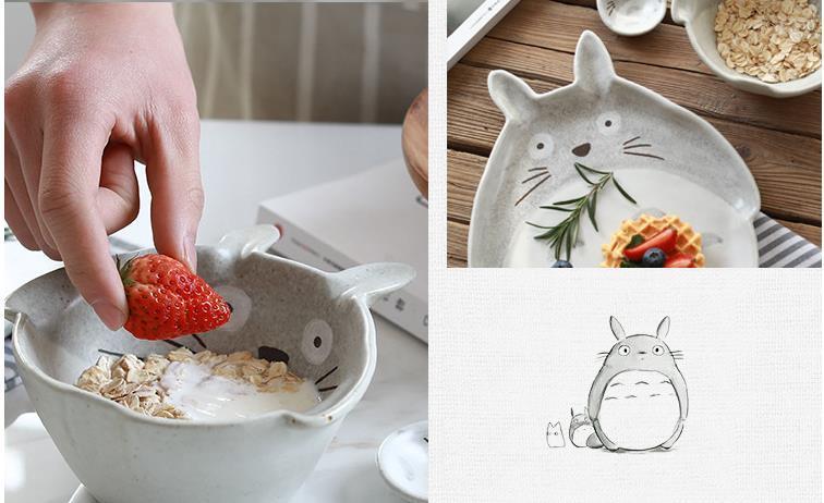 My Neighbor Totoro Handmade Ceramic Set Bowl, Plate and Spoon - ghibli.store