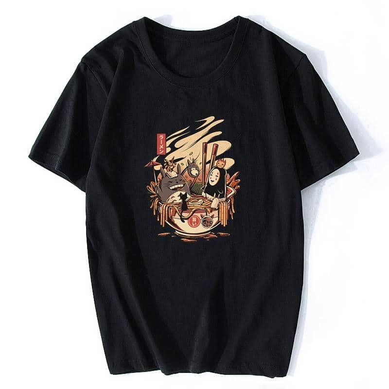 Totoro and No Face Ramen Bath Cotton T-shirt - ghibli.store
