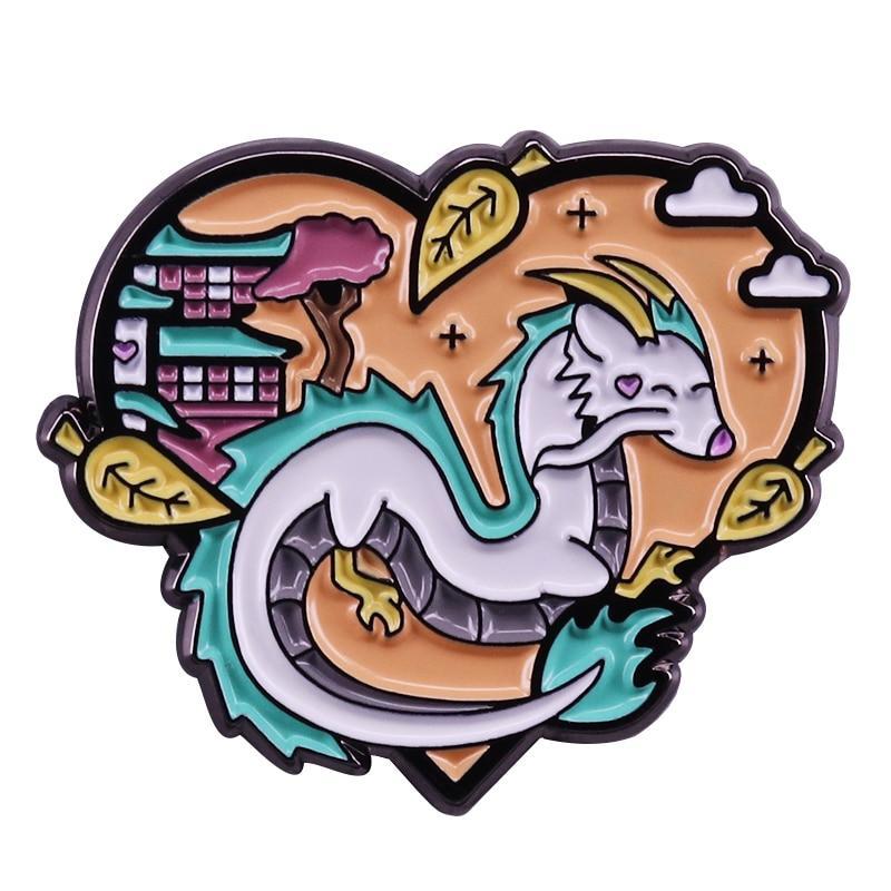 Spirited Away Haku Heart Shape Badge Pins - ghibli.store