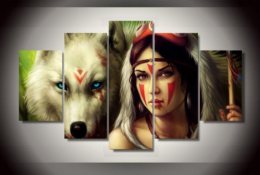 Princess Mononoke & Wolf Wall Poster Canvas - ghibli.store