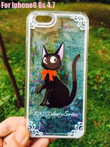Kiki's Delivery Service Black Cat Liquid Glitter Case For Iphone - ghibli.store