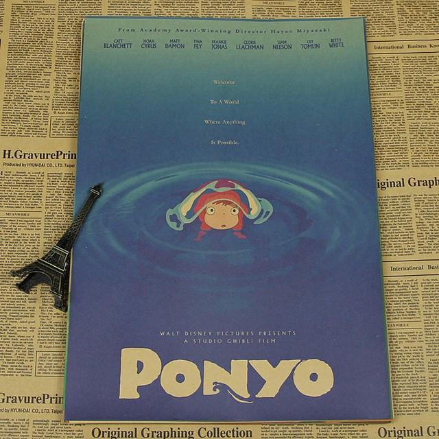 Ponyo Vintage kraft paper poster - ghibli.store