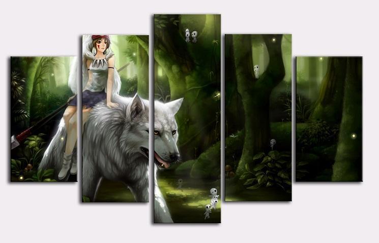 Princess Mononoke Riding The White Wolf Wall Poster Canvas - ghibli.store