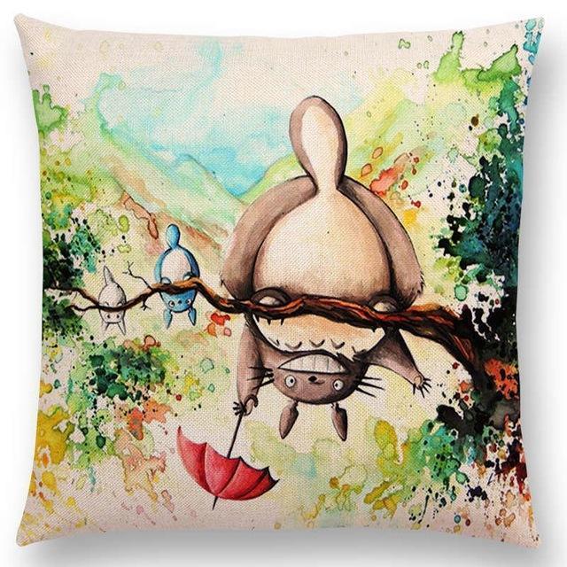 Studio Ghibli Watercolor Throw Pillow Cover - ghibli.store
