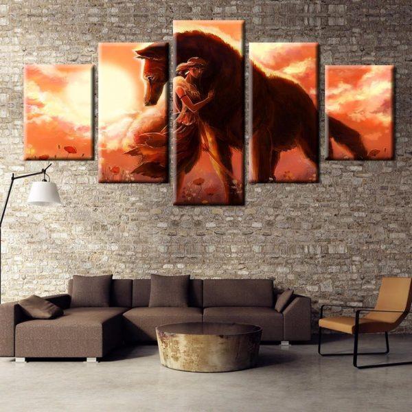 Princess Mononoke Hug Wolf Wall Poster Canvas - ghibli.store