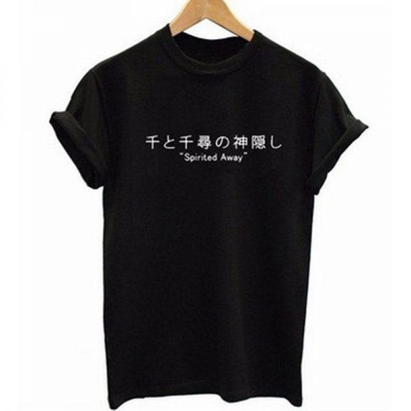 Spirited Away Japanese Letters Print Harajuku T Shirt - ghibli.store