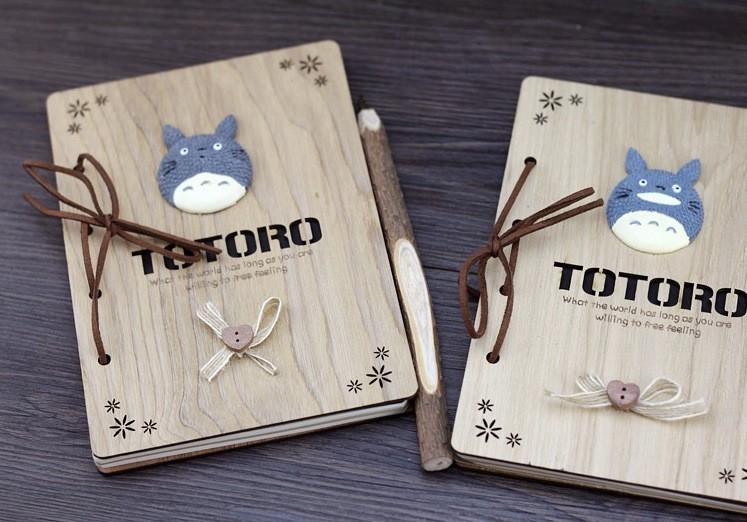 My Neighbor Totoro Vintage Wooden Notebook - ghibli.store