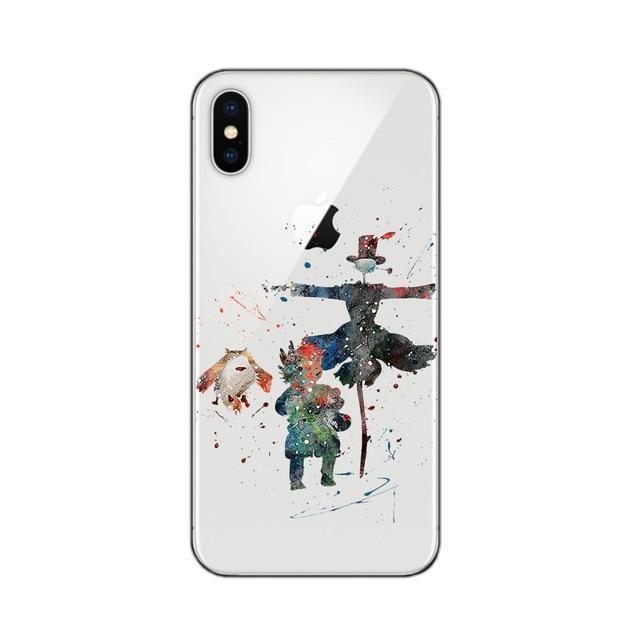 Ghibli Studio Characters Watercolor Soft Transparent Case For iPhone - ghibli.store