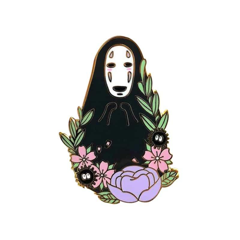 Spirit Away No Face Kaonashi With The Flowers Badge Pin