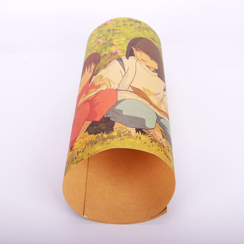 Spirited Away Chihiro And Haku Retro Kraft Paper Poster