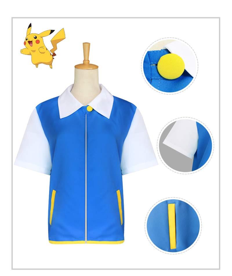 Pokemon Ash Ketchum Satoshi Cosplay Costume For Kid and Adult