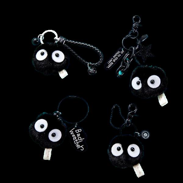 Spirited Away Soot Sprites Plush Keychain With Accessories