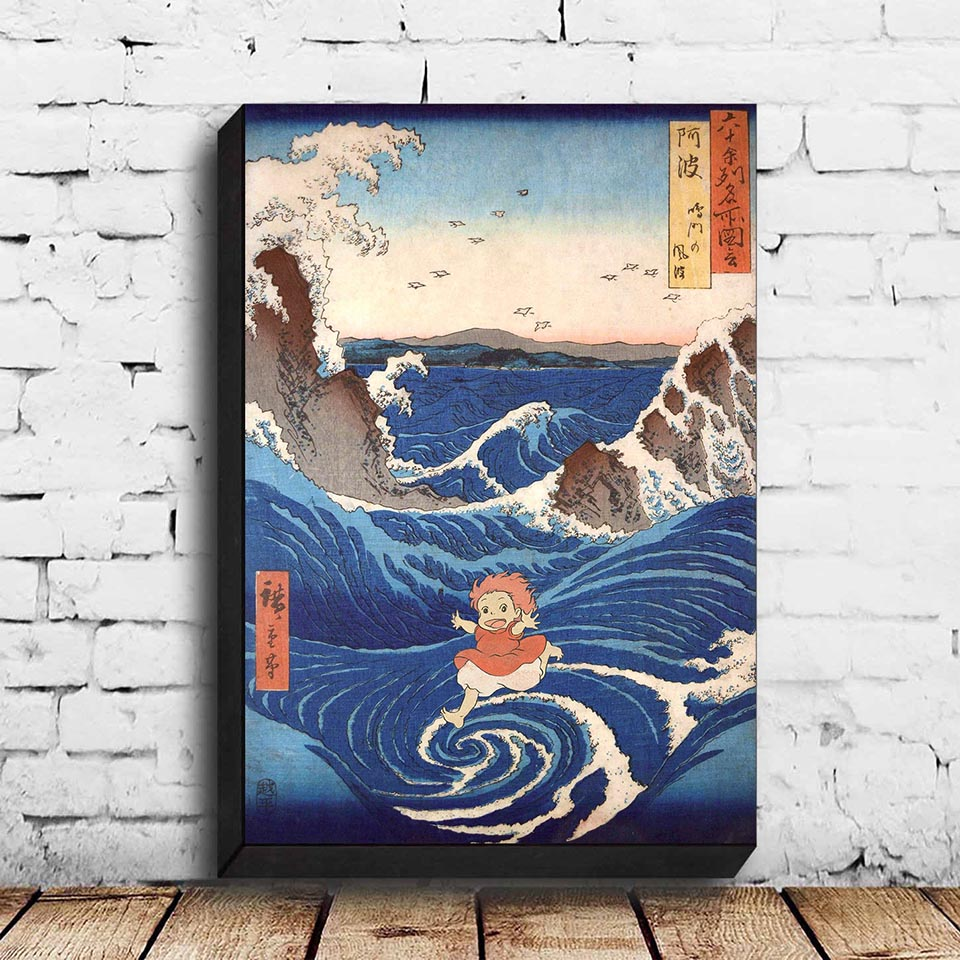 Ponyo On The Cliff Wall Canvas Poster