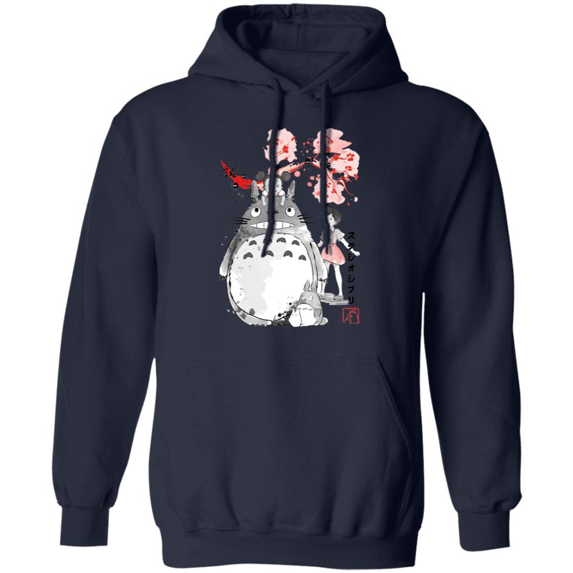 Totoro and the Girls by Sakura Flower Hoodie