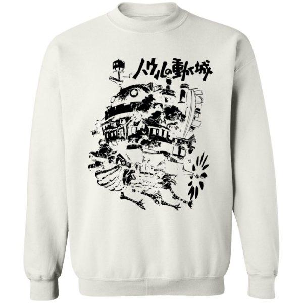 Customcat Howl's Castle in Black and White Sweatshirt
