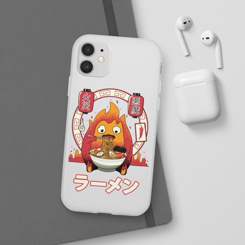 Howl's Moving Castle – Calcifer Loves Ramen iPhone Cases