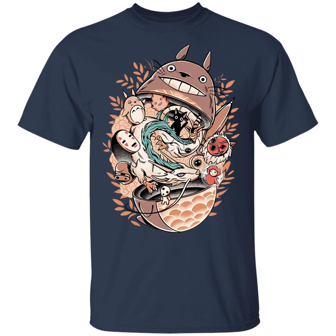 Totoro Daruma and Ghibli Friends T Shirt