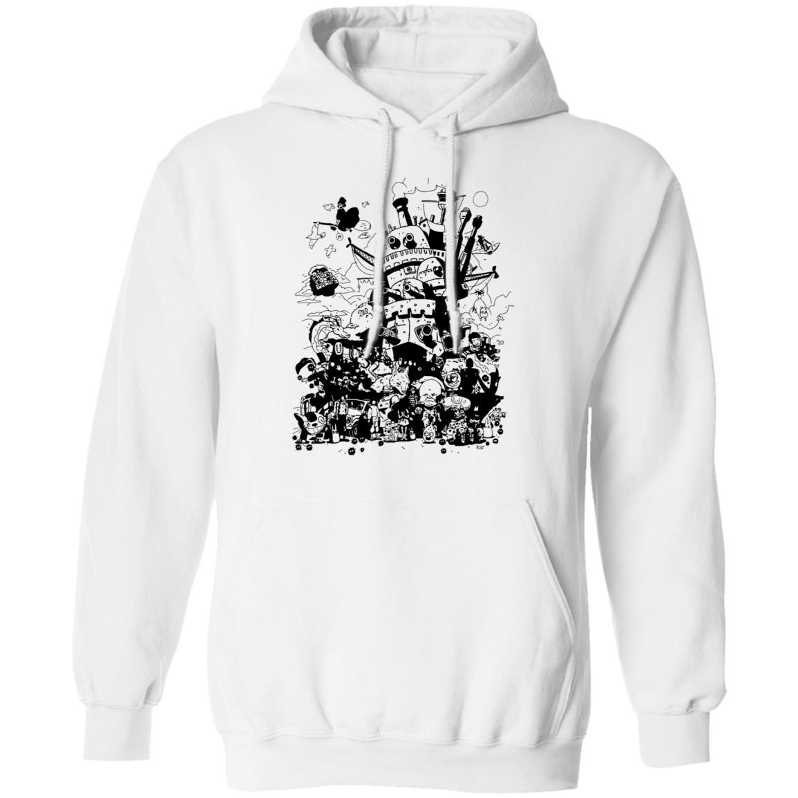 Studio Ghibli Art Collection Black and White Hoodie