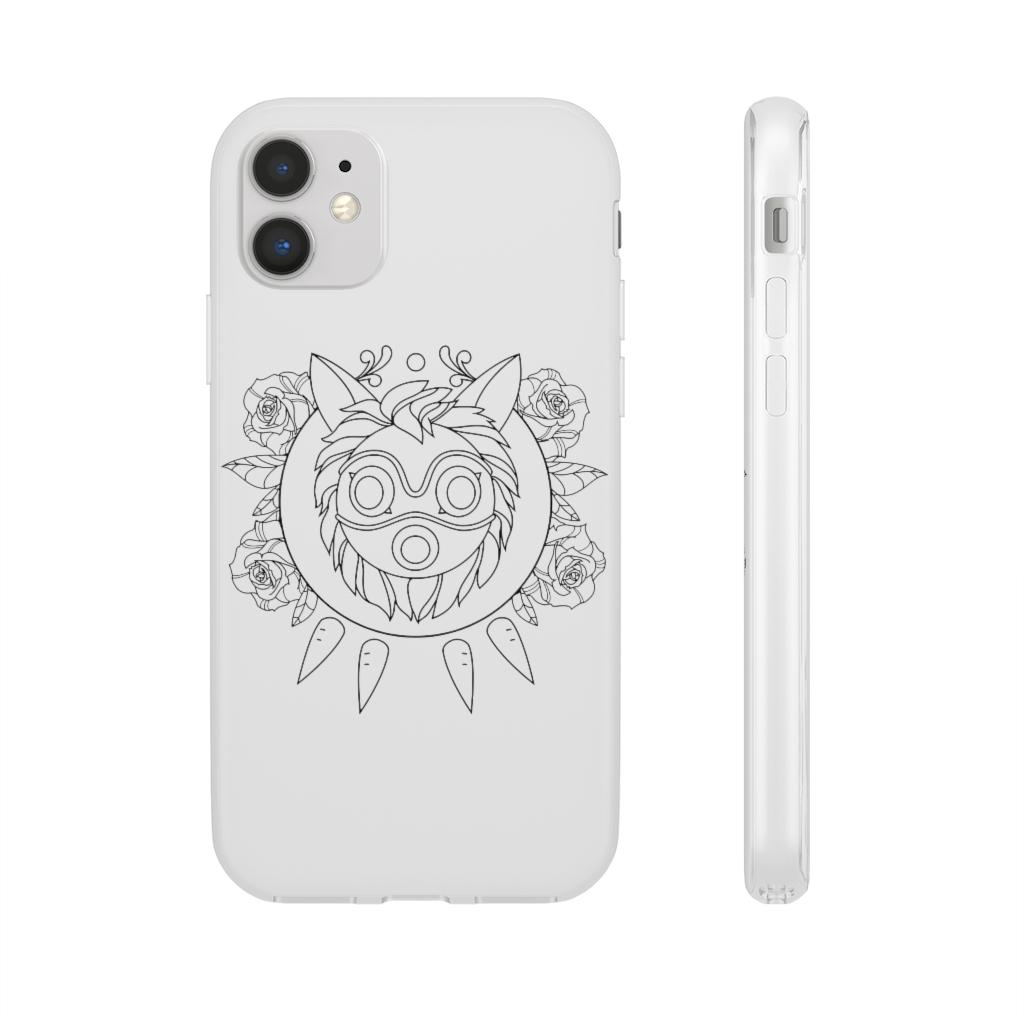 Princess Mononoke Mask in Black and White iPhone Cases