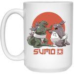 Totoro vs. Godzilla Sumo Mug 15Oz