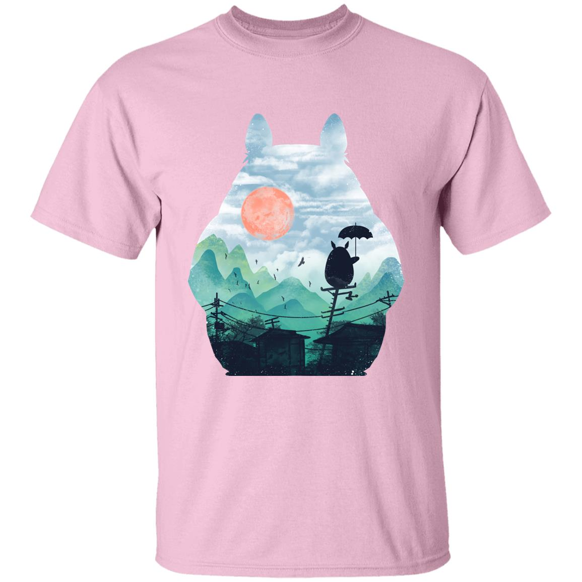 Totoro on the Line Lanscape T Shirt